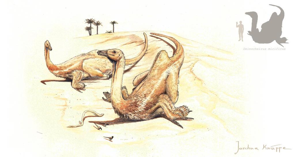 sunbathing Deinocheirus by Hyrotrioskjan