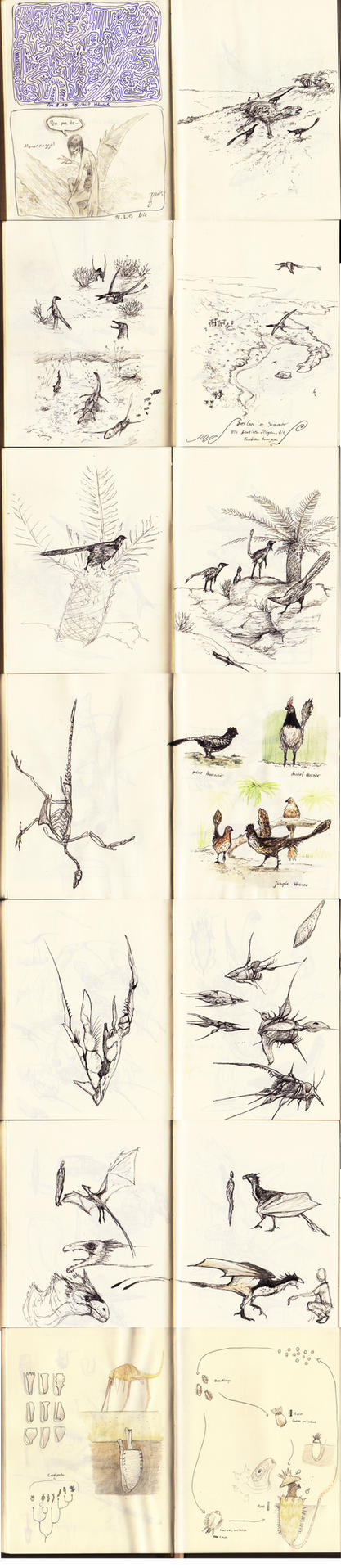 Sketches from Sketchbook No. 14 and 15 by Hyrotrioskjan
