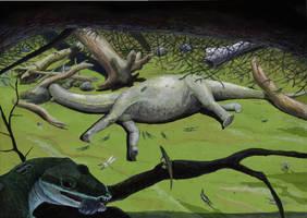 Knoetschkesuchus in its natural environment by Hyrotrioskjan