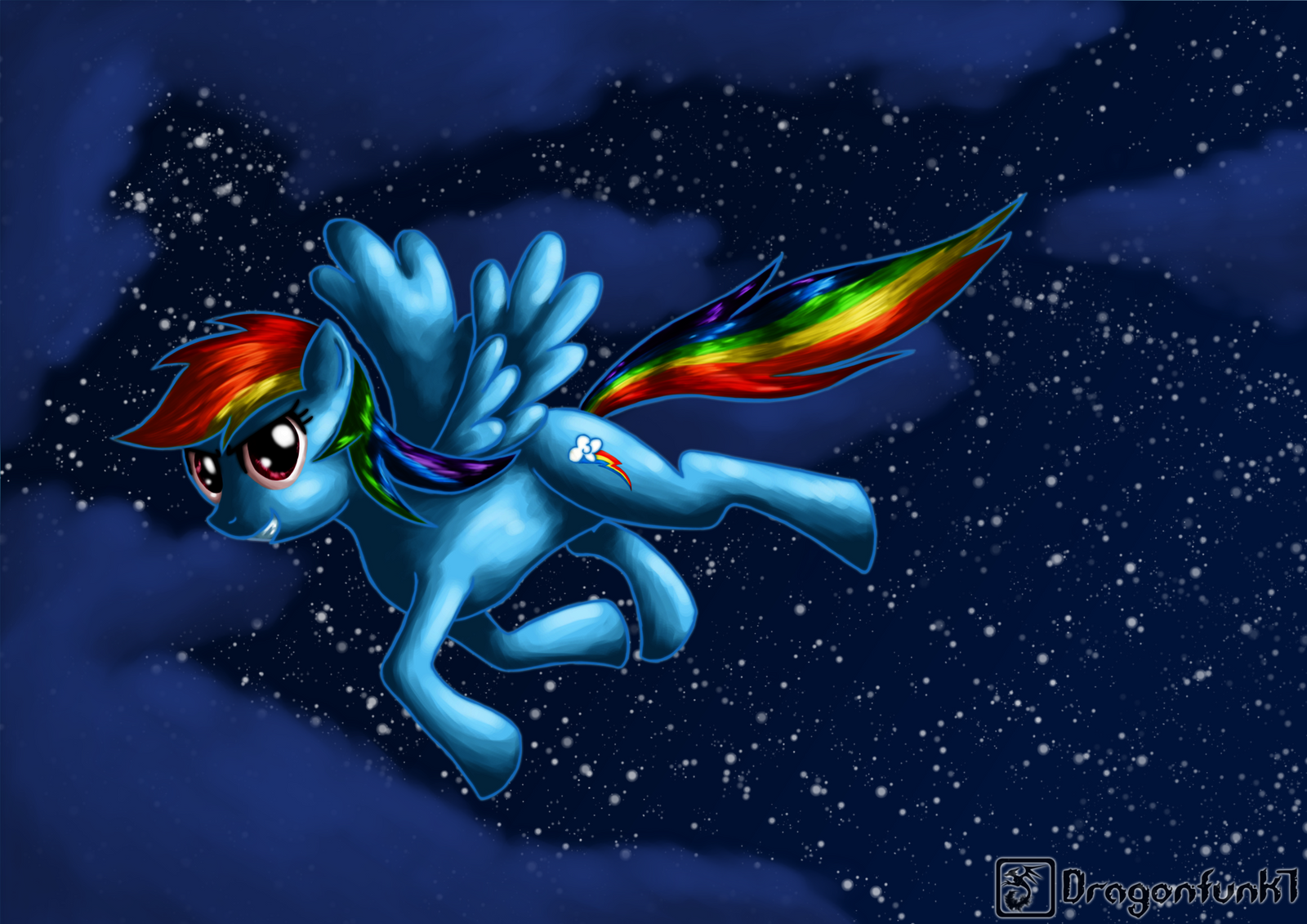 Rainbowdash in the night by Dragonfunk7