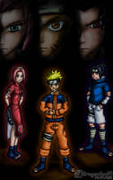 Naruto, Sakura, Sasuke with huge heads above them by Dragonfunk7