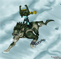 Link and Midna running through snowy fields