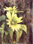 Watercolor with sunflowers