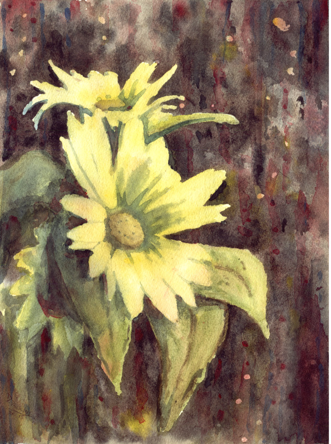 Watercolor with sunflowers by doma22