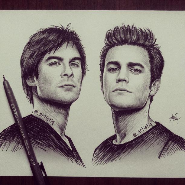 Damon and Stefan by ar...