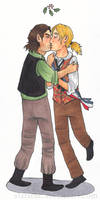 Mistletoe Kisses: Enjolras and Grantaire