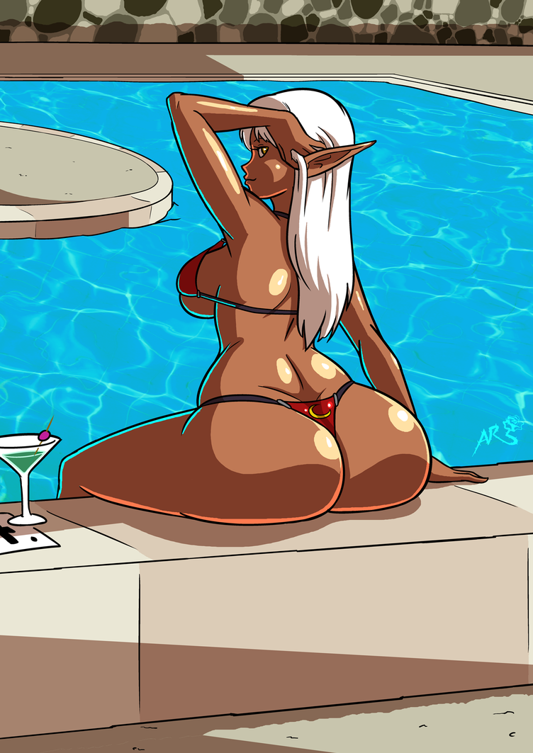 Top of the Bottoms - Poolside Dark Elf by Axel-Rosered