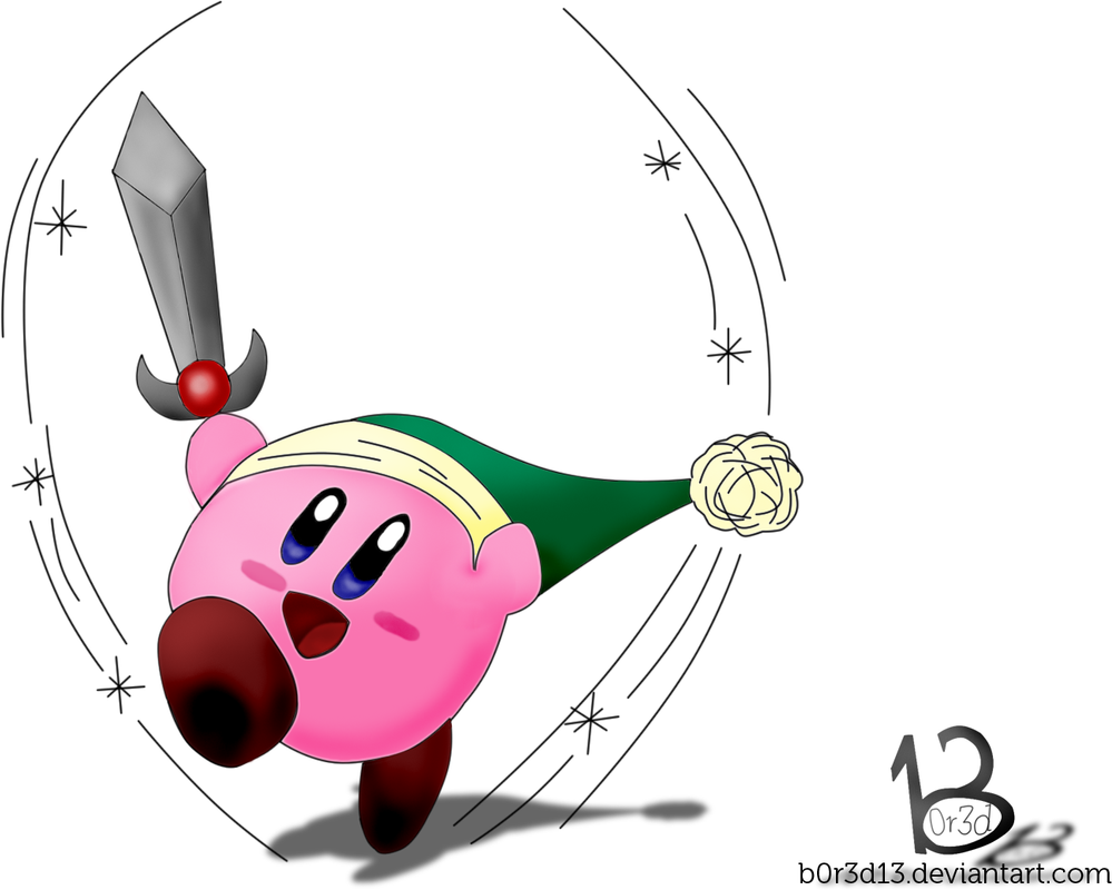 how to draw kirby with a sword