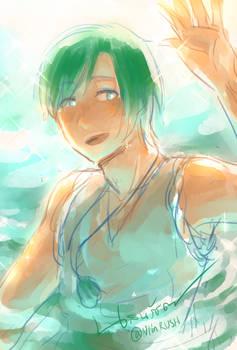 Umi at the sea