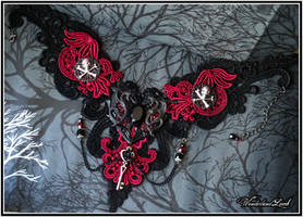 Pirate Queen - Gothic Pirate Lace Necklace OOAK by empulsa