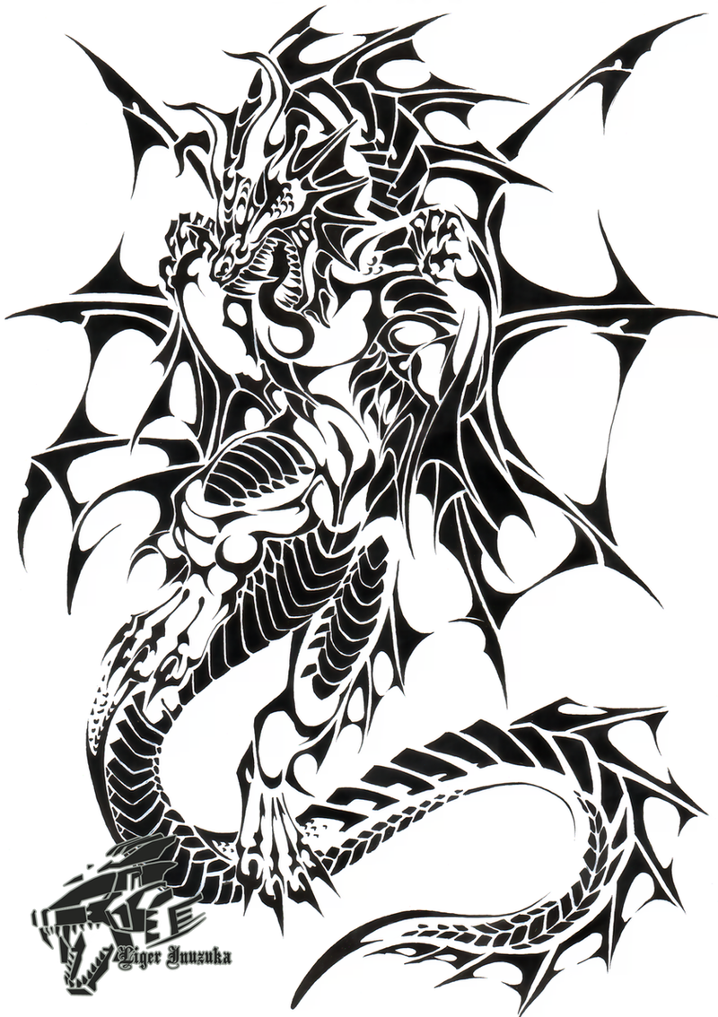 Commish sea dragon tribal by liger inuzuka on deviantart for Sea dragon tattoo