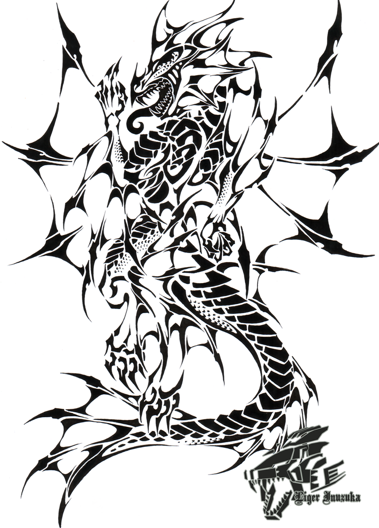 Commish sea dragon tribal ii by liger inuzuka on deviantart for Sea dragon tattoo
