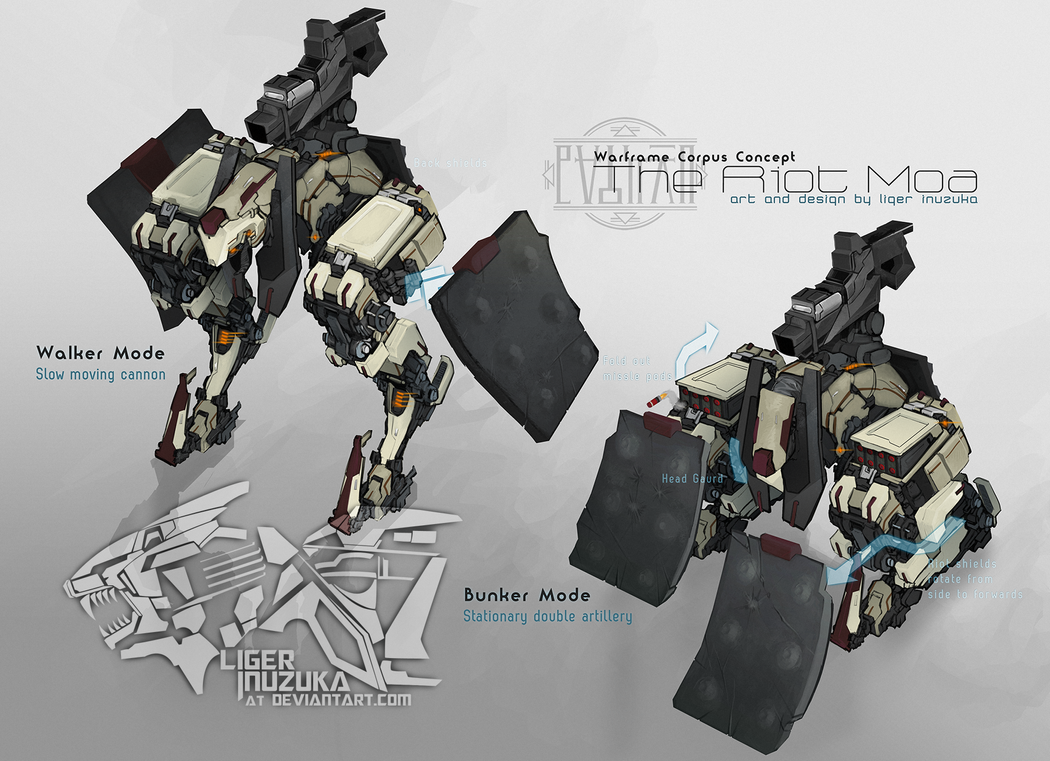 Warframe: The Riot Moa Concept by Liger-Inuzuka