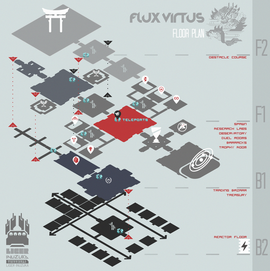 Warframe: Flux Virtus Clan Floor Map Graphic by Liger