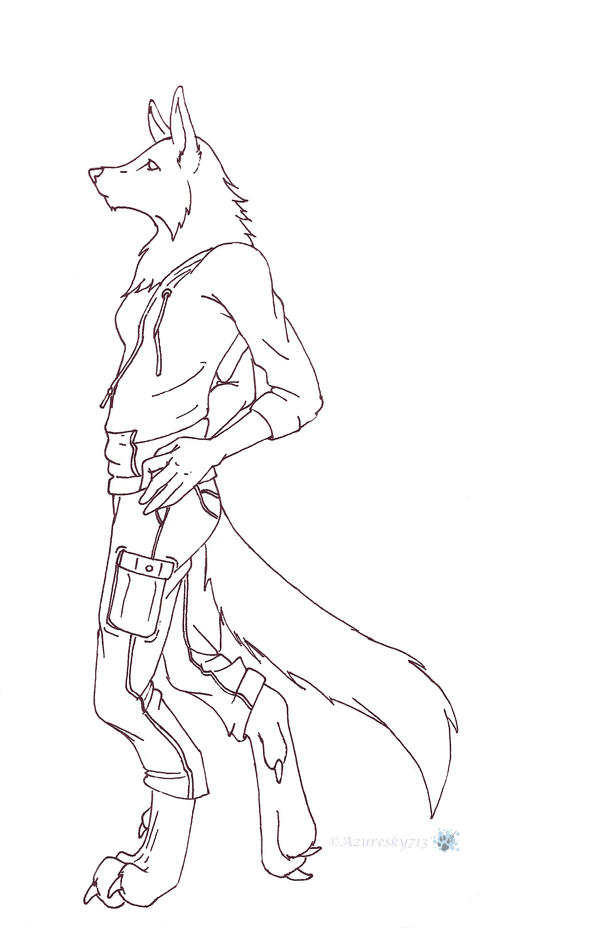Anthro Female Wolf Lineart