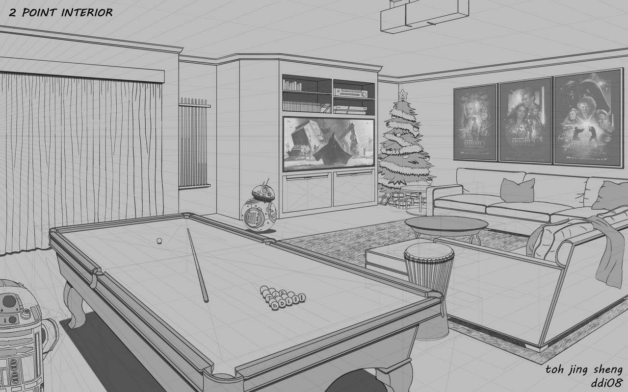 2 point perspective of interior living room by