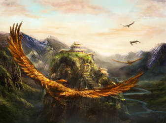 Eagle rock temple mattepainting by Ice-wolf-elemental