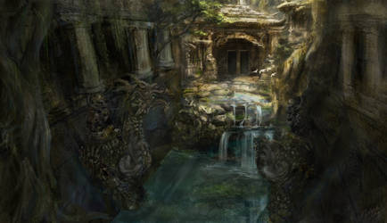 Ancient ruined temple by Ice-wolf-elemental