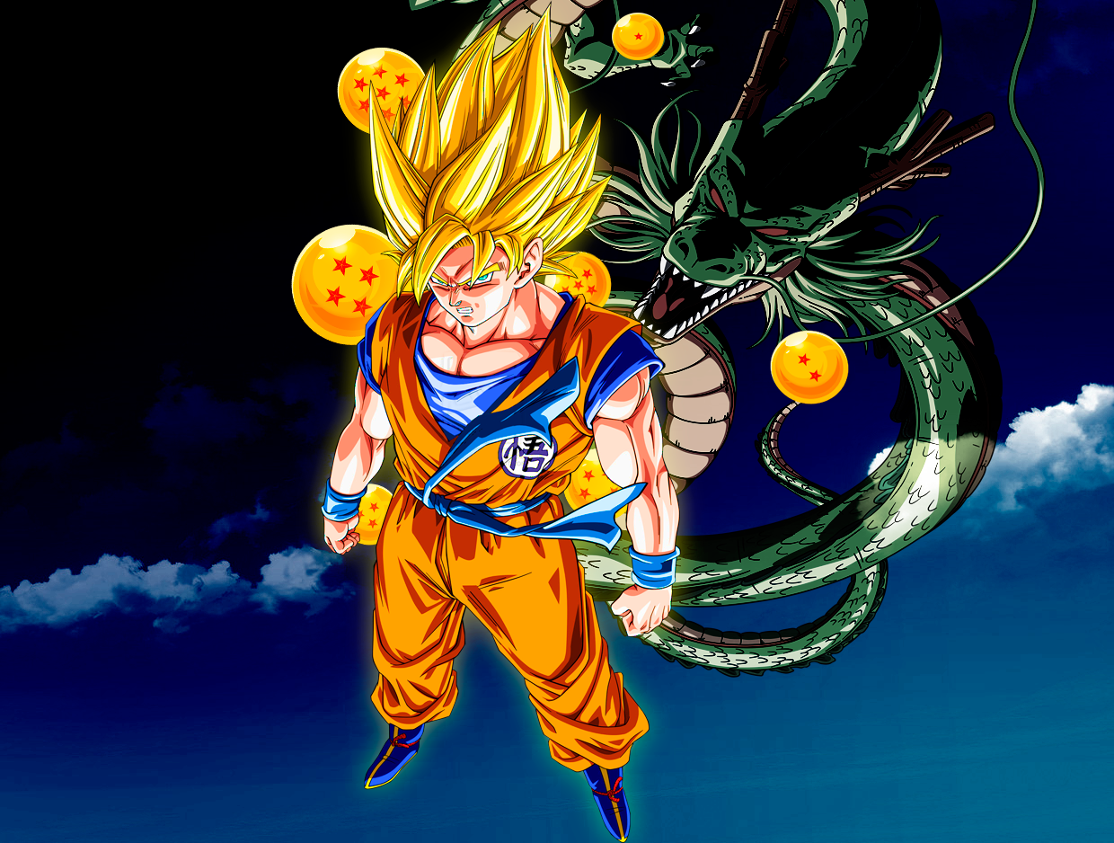 Dragon Ball Wallpaper Son Goku And Shenron By Goku6384 On Deviantart