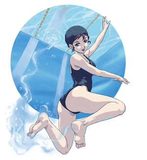 Manga Girl Swimming