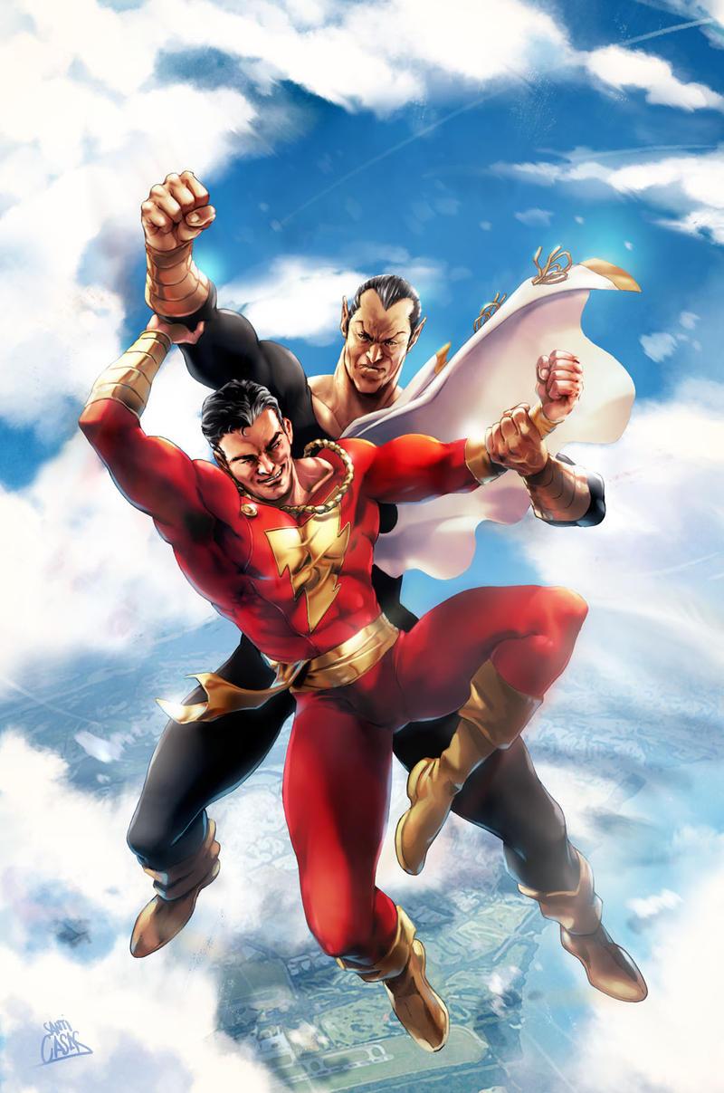 SHAZAM battle in the sky (homage to Ken Kelly) by SANTI-IKARI