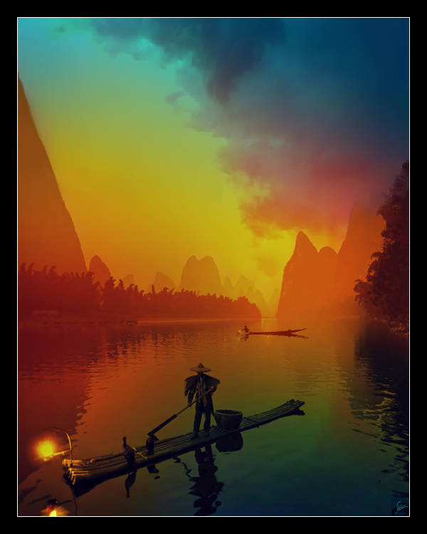 Fishing Junks At Sunset II by MoodyBlue