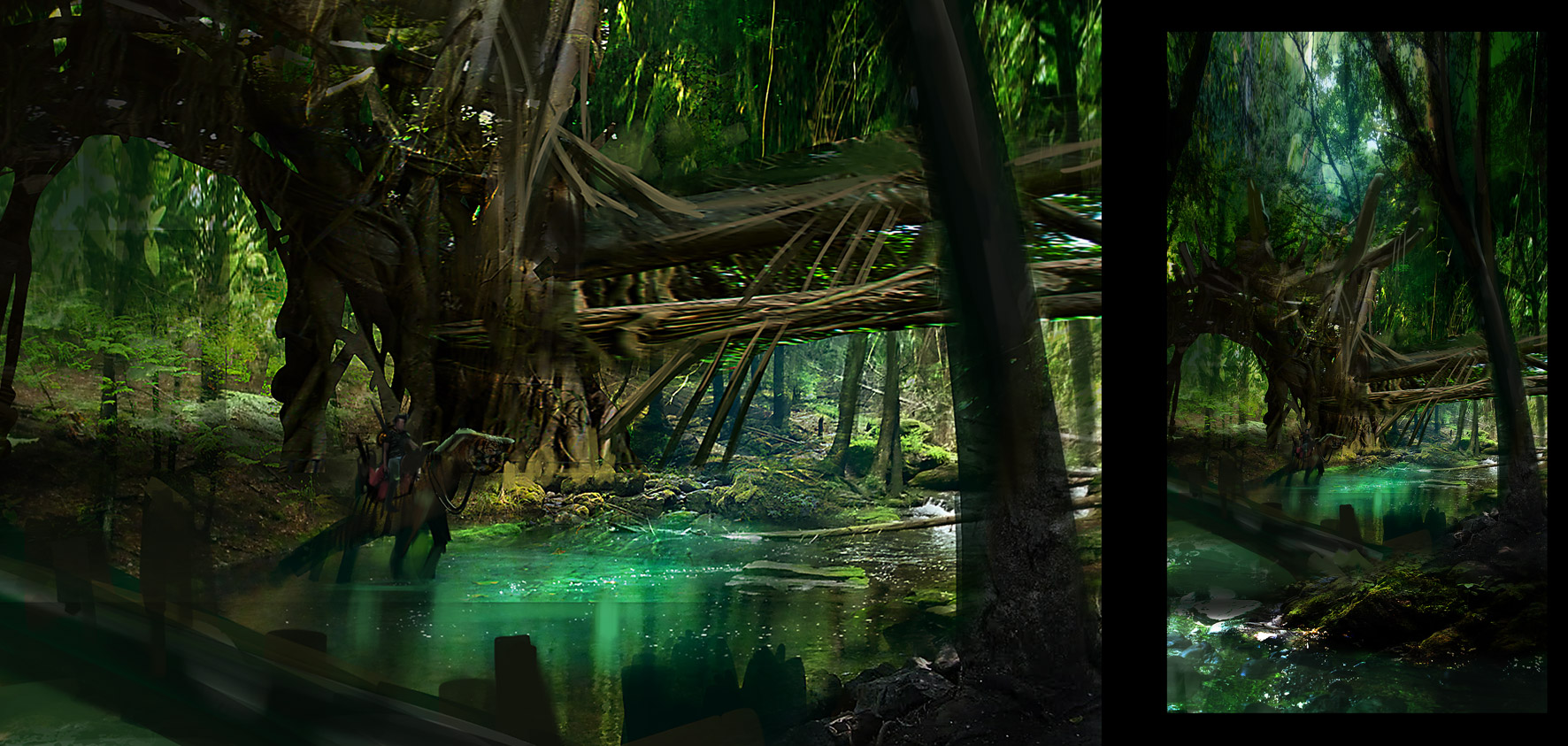 how to draw a jungle background