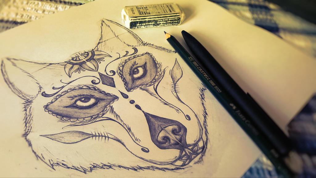 sugar skull wolf design by yourmessagesir on deviantart. Black Bedroom Furniture Sets. Home Design Ideas