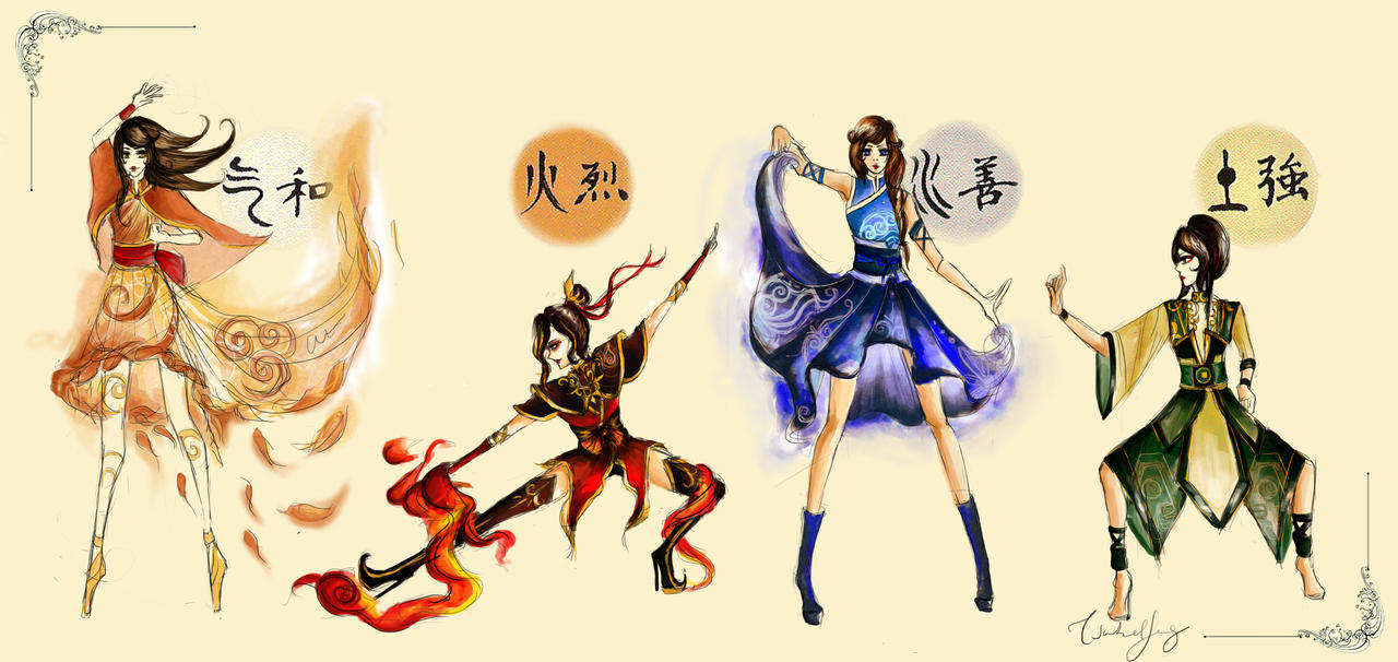 Elements Of Fashion Design : Avatar the four elements by chiaroscuro on deviantart