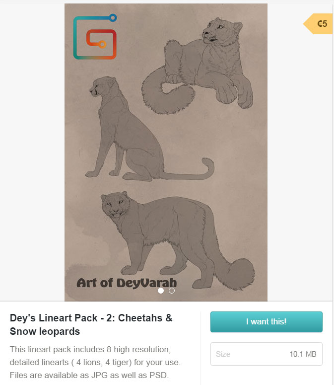 Lineart Pack 2 Snow Leopards and Cheetahs by DeyVarah