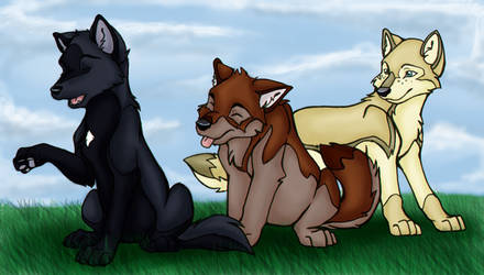 Siblings in a meadow by DeyVarah