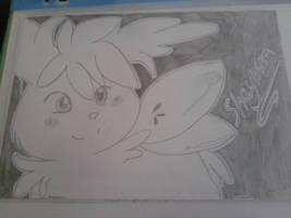 Sky Shaymin Pencil Drawing by Natashalea