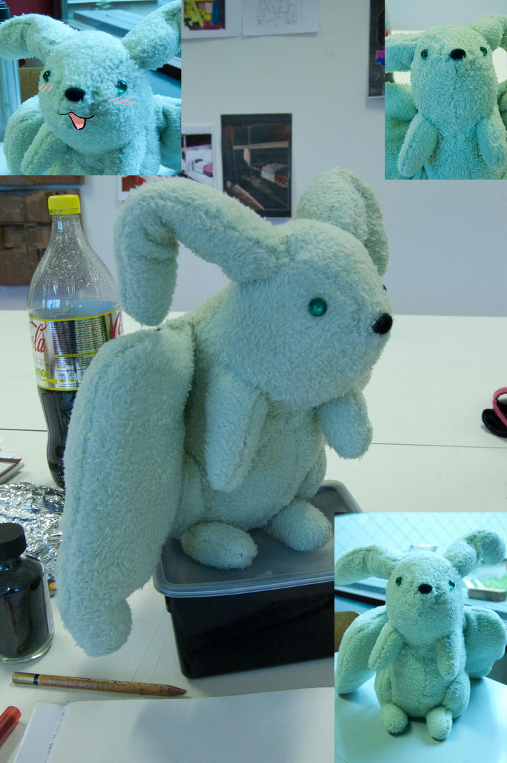 Flying mint bunny plushy by Ymia-the-cheetah