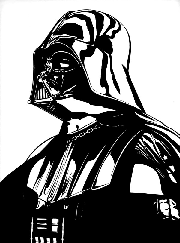 how to draw darth vader full body easy