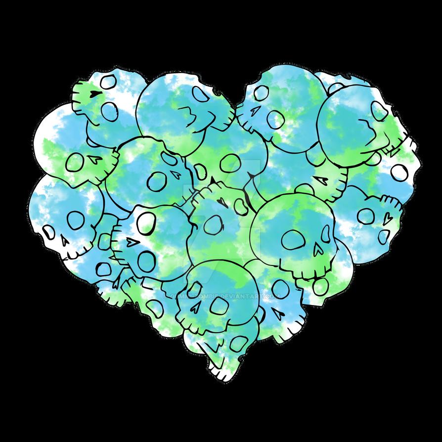 Skull heart - Green by Gummi-Zombie