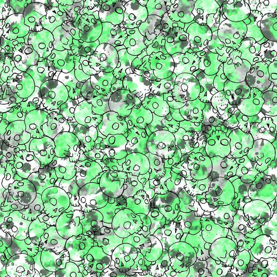 Green Skull Pattern by Gummi-Zombie