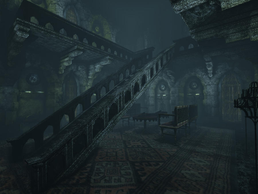 Gothic Castle West Stairway By Sunset Phoenix