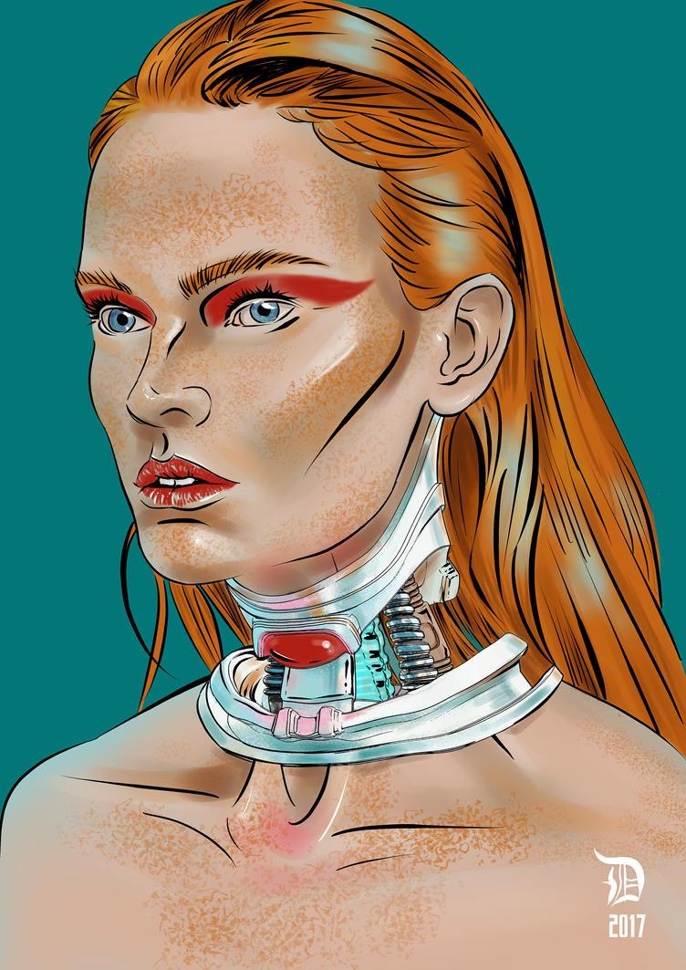Sci-fi portrait of model Kiia Waden by dirac-art