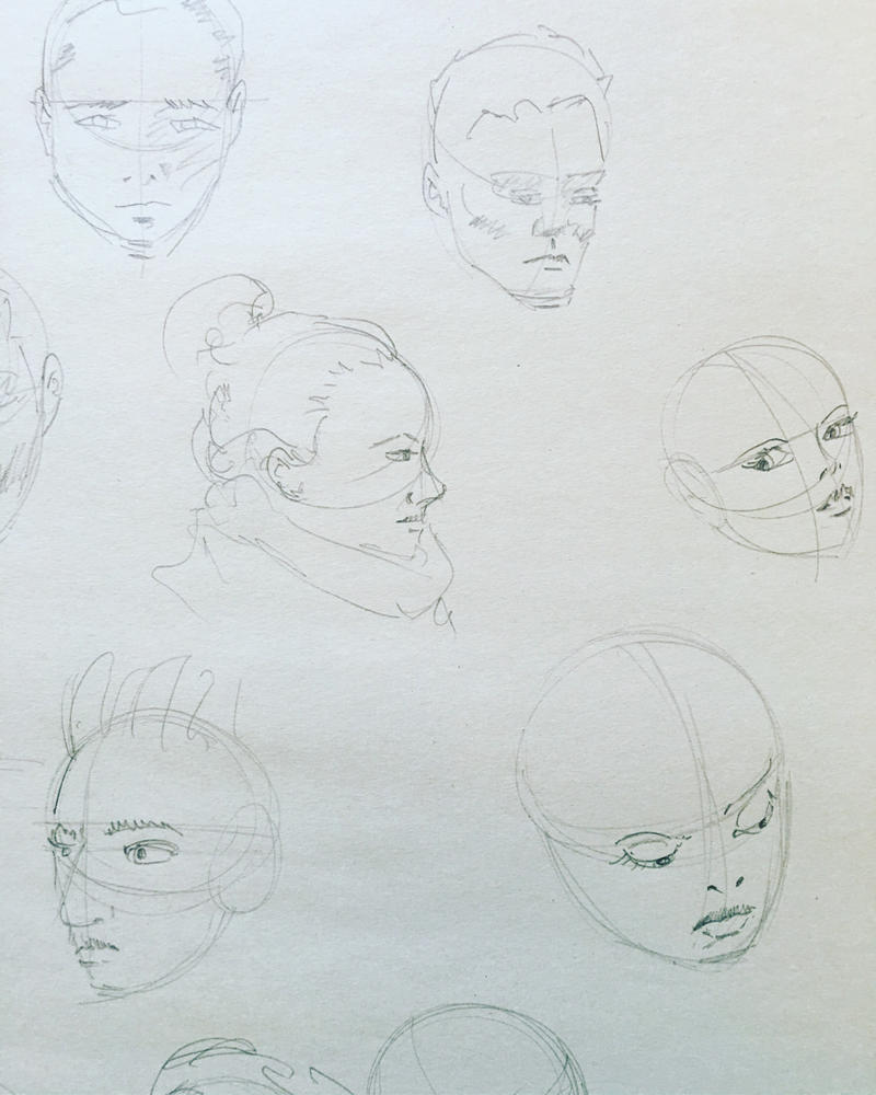 Head sketches by JeffreyLamar