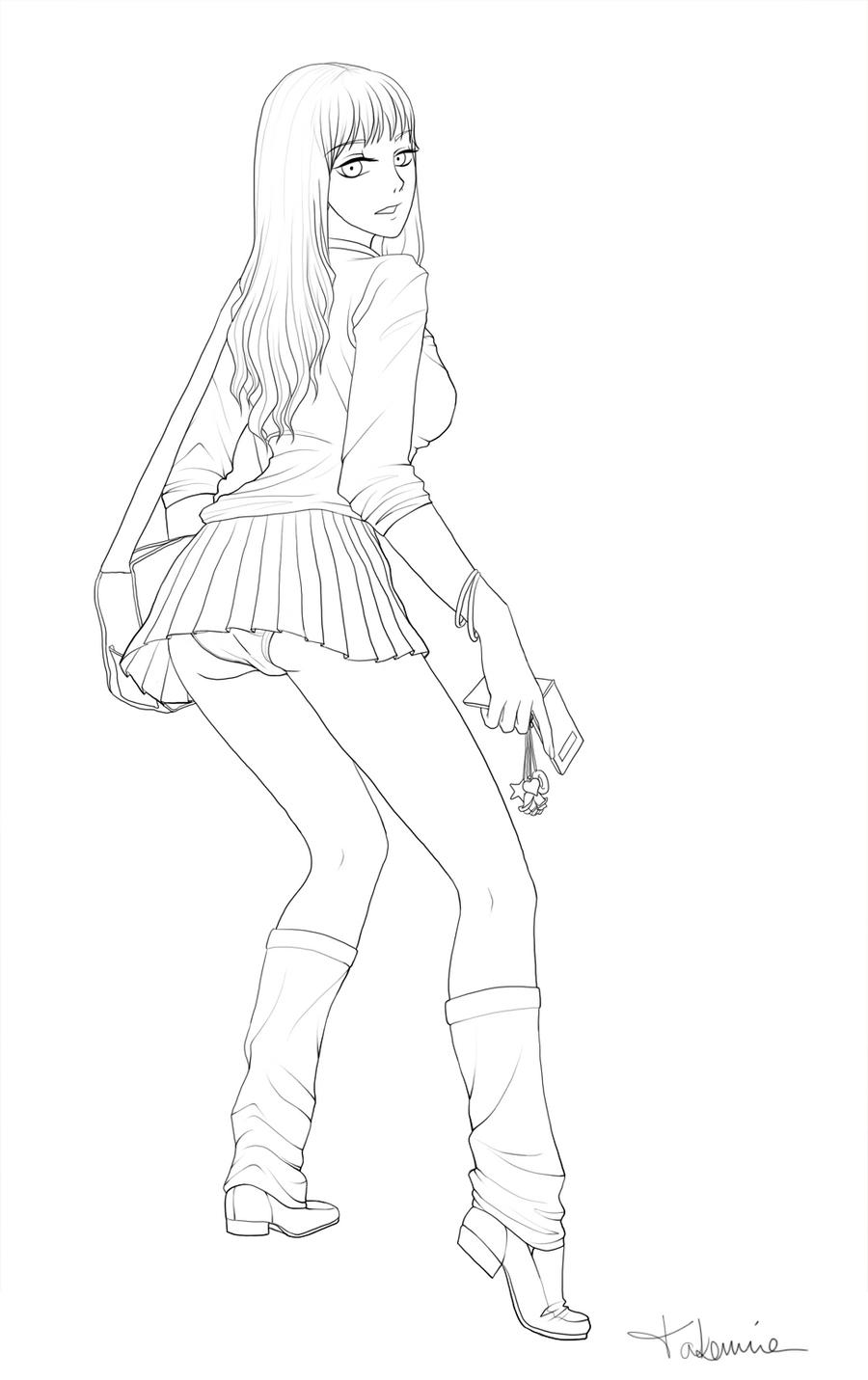 Line Art School : School girl line art by takemina on deviantart