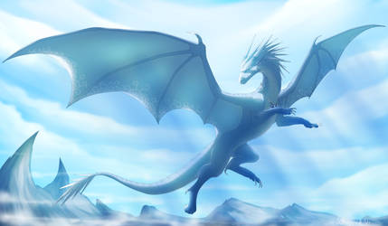 Commission Ice dragon by WrappedVi