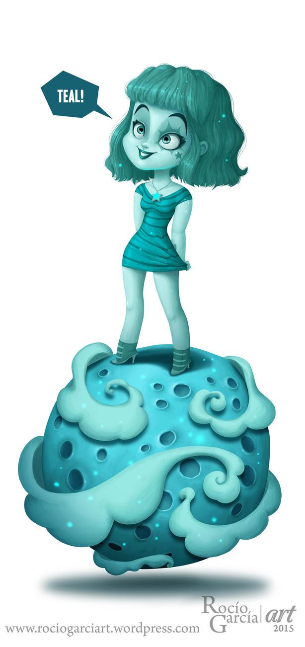 Teal Planet by RocioGarciaART