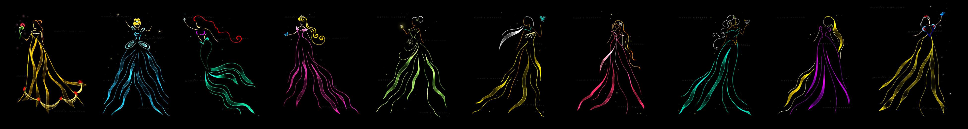 Disney Princesses Ribbon Art by mandiemanzano
