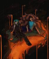 Herobrine and Karon(OC) by KaroliiinaArt