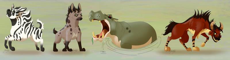Three Hyenas (and a hippo)