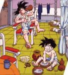 goku and gohan relax