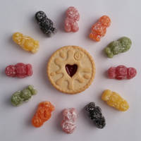 Jammie Dodger Surrounded By Jelly Babies