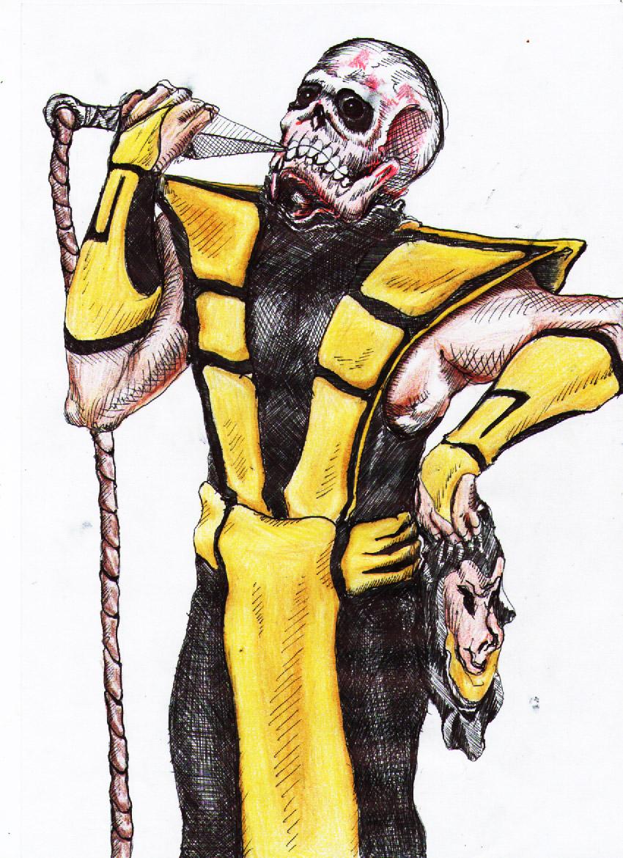 drawing sketch mortal kombat art scorpion mk