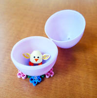 Quilled chick in egg on stand by DressToQuill