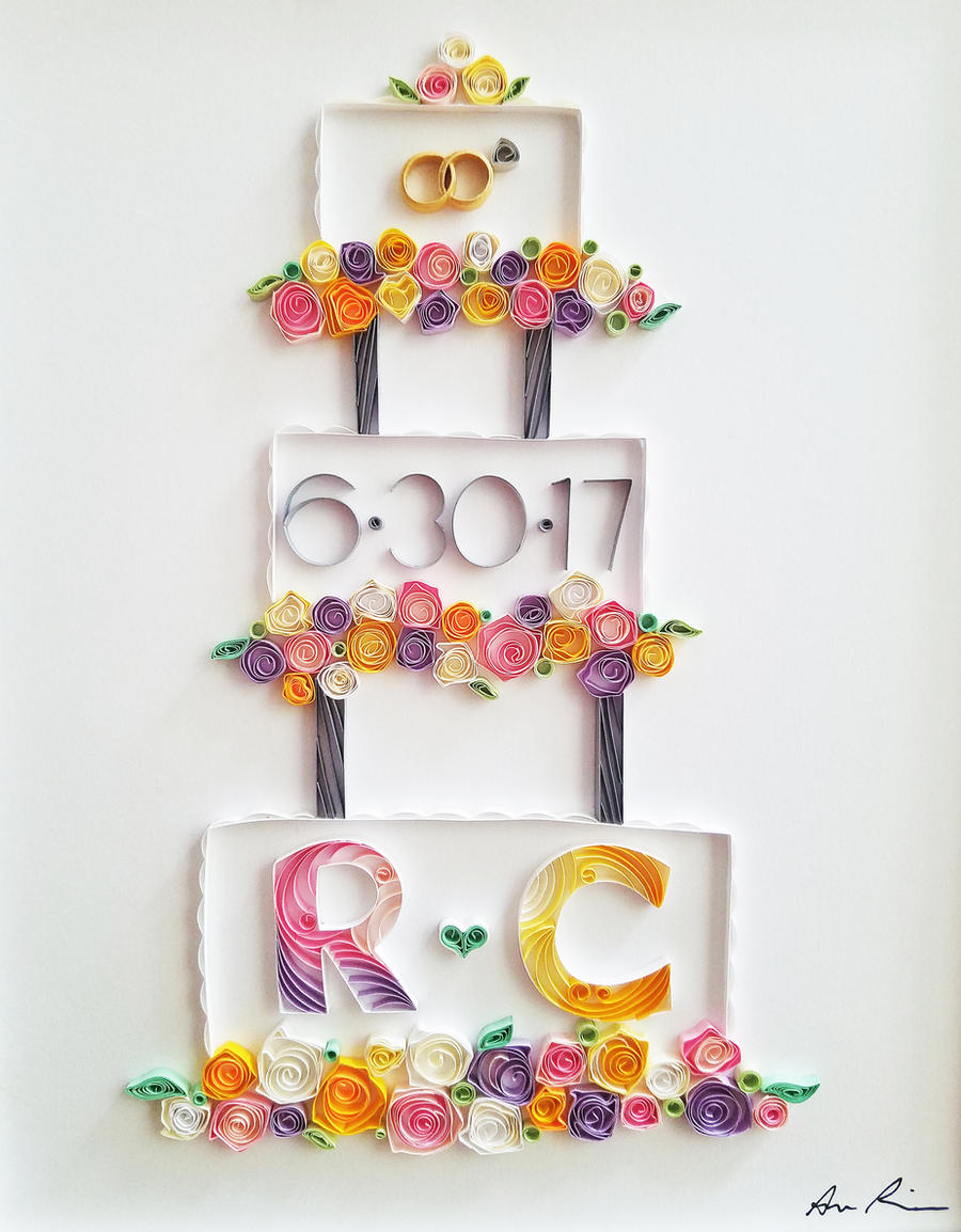 Paper Art Wedding Gift : Paper Quilling Art: Wedding Gift by DressToQuill on DeviantArt